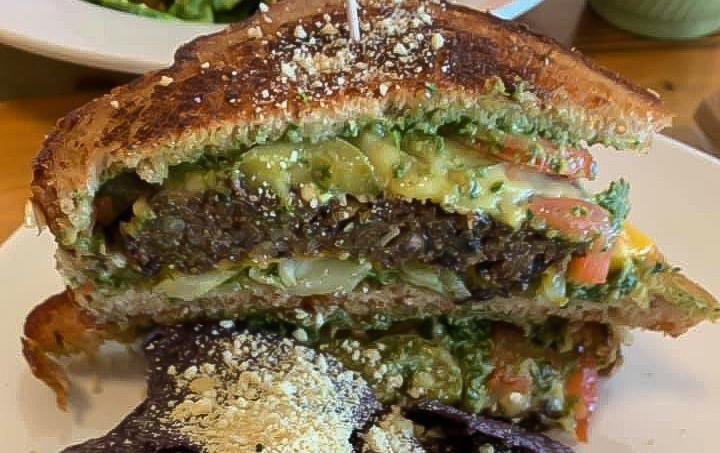 Vegan grilled cheese black bean burger